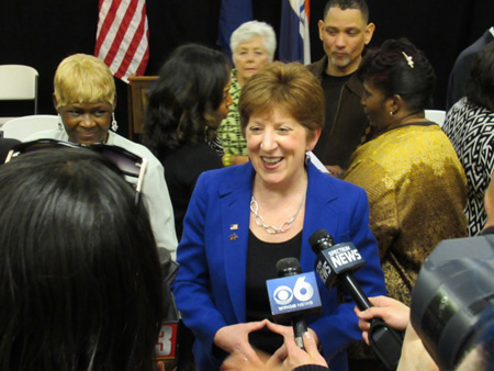Kathy Sheehan Announcing Her Reelection Campaign Earlier This Year