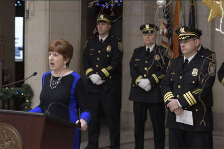 Kathy Sheehan Announcing The Retirement Of Police Chief Brendan Cox, At Right
