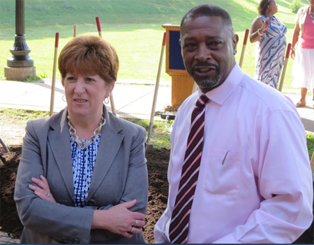 Kathy Sheehan With Willie White At The Groundbreaking For The New Steps In Front Of The Lincoln Park Poolhouse, 2015
