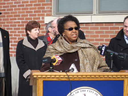 Carolyn McLaughlin On Alexander Street In The South End, Then Treasurer Sheehan Listens, 2012