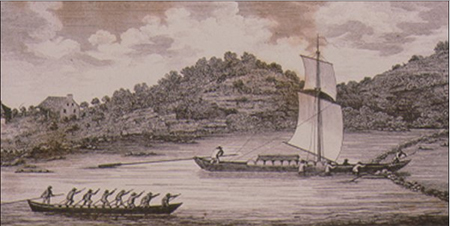 Illustration From 1807 Showing A Durham Boat Passing Through A V Gate On The Mohawk River