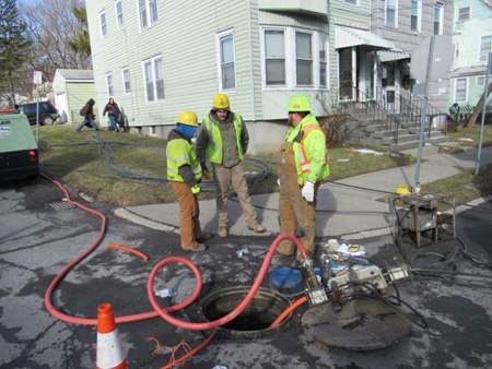 The State Of New York Fiber Optic Cable Junction After Rain Or Snow Melt