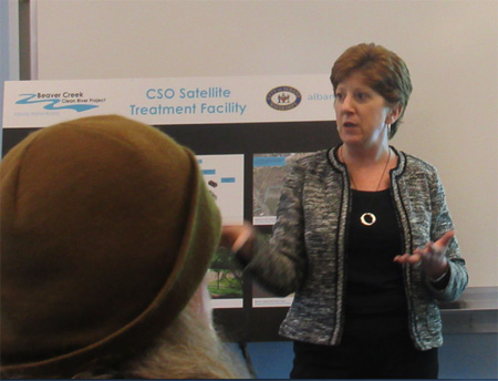 Albany Mayor Kathy Sheehan Discussing The Planned Lincoln Park Sewage Treatment Facility At An AVillage Meeting Last May