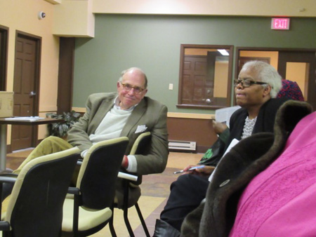 Chuck Houghton, Chairman Of The Albany Water Board And Joanne Morton, President Of The South End Neighborhood Association At The Creighton Storey Meeting