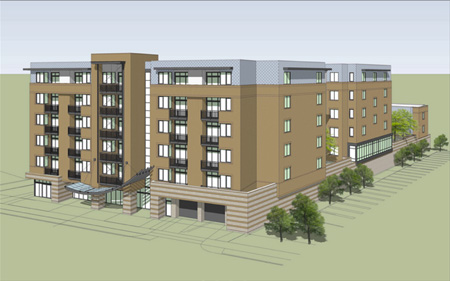 Drawing Of The Proposed Apartment Building At 1211 Western Avenue
