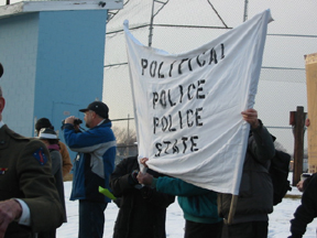 Protesters Across The Street    March, 2004