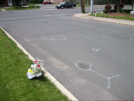 University Place, showing the location of the body and the bike.  Note the bouquet.